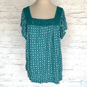 Old Navy short sleeve top blue green square NWOT